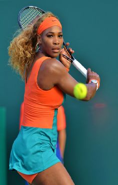 """Miami Defending Champion Serena Williams Into 4th Rd of the Sony Open 2014! ... A rain delay did not halt Serena def. Caroline Garcia 6-4, 4-6, 6-4 to advance. Serena looks amazing, sporting Blue & Orange on court! RENA: """"... As one of the owners, we wanted to pay homage to the dolphins, & you know get some good spirit going on hopefully get some good wins. .. go phins, phins-up..."""" 3/22/14 <3"""
