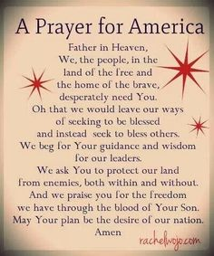 A prayer for America  ~~I Love Jesus Christ Christian Quotes.