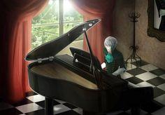 Lysandre compondo ao piano. Créditos da imagem a alguém. Quem souber quem, por favor, me avise.