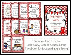 Facebook Fan Freebies- Red Ribbon Week Posters- Savvy School Counselor