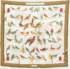 """Hermes Multicolor Silk """"Les Oiseaux Des Champs Et Des Bois"""" 90cm Square Scarf #Hermes"""