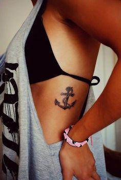 anchor rib tattoo
