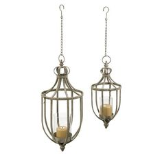 CC Home Furnishings Set of 2 Silver Distressed Hanging Hurricanes Pillar Candle Holders 22