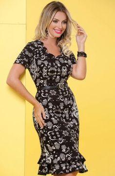 Floratta Modas - Moda Evangélica - A Loja da Mulher Virtuosa Dress Skirt, Wrap Dress, Dress Up, Bodycon Dress, Vestidos Chiffon, Women Church Suits, African Dress, Feminine Style, Summer Dresses