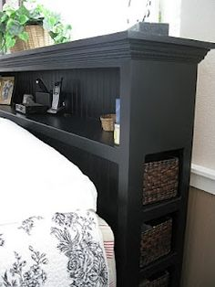 Headboard, nice take on a book case head board with storage on the side