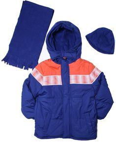 iXtreme-Little Boys 2T-7 Color Block Sport Winter Jacket, Scarf & Hat/Navy. POLAR FLEECE LINED & WATERPROOF. VELCRO CLOSURE HOOD. TWO SIDE POCKETS. 3 PIECE WINTER JACKET, HAT & SCARF. 100% POLY.