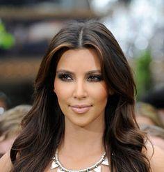 Get The Look Kim Kardashians Hair Highlights For Dark Brown Hair Caramel Highlights