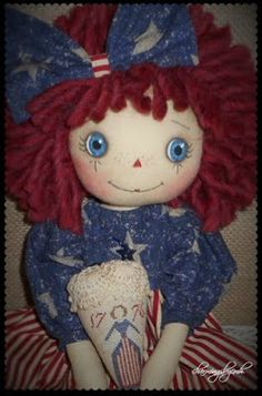 Happy Valentine's Day Sunday   ~     ~   newest Annie is dressed in the stars and stripes   with a strawberry pin keep hand stitched just ...