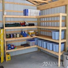 DIY Garage Organization Ideas DIY Corner Shelves for Garage or Pole Barn Storag. DIY Garage Organization Ideas DIY Corner Shelves for Garage or Pole Barn Storage Cheap Ways to Or Corner Storage Shelves, Diy Corner Shelf, Garage Storage Cabinets, Diy Garage Storage, Garage Shelving, Basement Storage, Laundry Room Storage, Recycling Storage, Diy Shelving