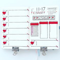 Bullet journal weekly layout, heart drawings, weather tracker, water tracker, Valentine's Day bullet journal theme. | @momdotlove