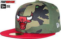 New Era 59Fifty Camo Team Visor Chicago Bulls Woodland 5950 Cap