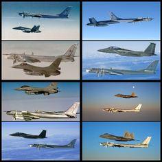 Various U.S. Jets intercepting the Tupolev Tu-95 Bear