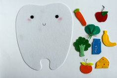 Felt playset Happy tooth - Sad tooth for sorting Good and Bad food for teeth. TomToy handmade in Israel, Educational material Sorting Activities, Bad Food, Bottle Bag, Hand Embroidery, Teeth, Sad, Happy, Handmade, Etsy