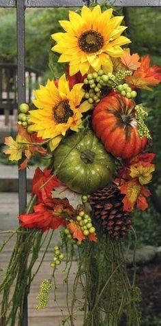 Autumn arrangement of harvestables Autumn Decorating, Fall Decor, Fleur Design, Fall Arrangements, Happy Fall Y'all, Fall Harvest, Harvest Time, Fall Wreaths, Fall Season