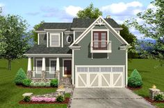 House Plan 92384 | Craftsman    Plan with 2058 Sq. Ft., 3 Bedrooms, 4 Bathrooms, 2 Car Garage