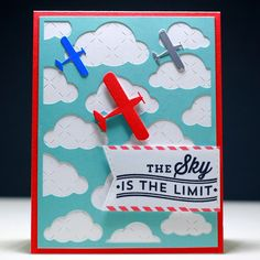 The Sky - Scrapbook.com - Love the embossed background white that shows through the blue die cut clouds!