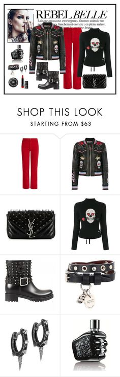 """Philipp Plein Studded Skull Patch Jacket Look"" by romaboots-1 ❤ liked on Polyvore featuring Anja, Bliss and Mischief, Philipp Plein, Yves Saint Laurent, Alexander McQueen, JoÃ«lle Jewellery, Diesel and Kat Von D"