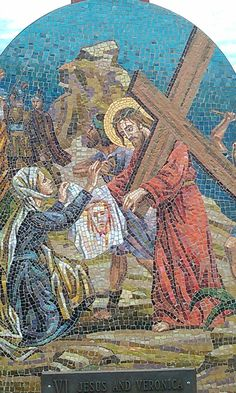 6 Stations of the Cross along the stairs @ Mother Cabrini Shrine Colorado. . Each station is made of stone mosaics made in Italy and depicts the suffering of our divine Lord as He gave His life for our salvation