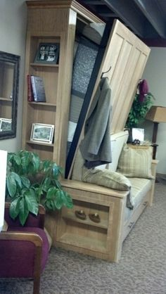 Diy Murphy Bed Ideas Would be great in the cabin for space saving! Marvellous Diy Murphy Bed IdeasWould be great in the cabin for space saving! Cama Murphy, Murphy Bed Ikea, Murphy Bed Plans, Murphy Bed With Couch, Murphy Bunk Beds, Murphy Bed Office, Build A Murphy Bed, Build In Bed, Full Murphy Bed