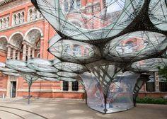 Robotically fabricated carbon-fibre pavilion opens at the V&A