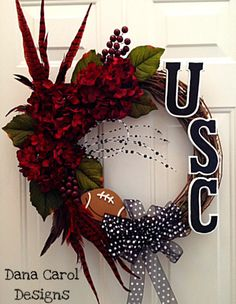 South Carolina Gamecocks Football Wreath or by DanaCarolDesigns