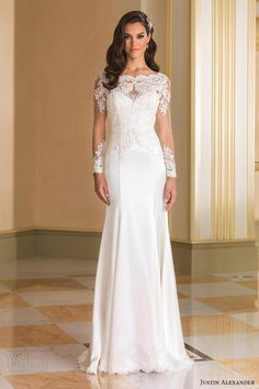 Most Popular Wedding Dresses of 2016 Part 2 (Mermaids, Sheaths and More) Gown: Justin Alexander bridal fall 2016 illusion long sleeves bateau neck trumpet beaded bodice wedding dress (8864) mv elegant