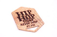 Hip Hop City, Woven label with gold lurex yarn.   #Colorful #HeatTransfer #Woven #Labels