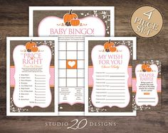Instant Download Burlap Girl Pumpkin Baby Shower Games for Boy Baby Shower by Studio20Designs. This autumn pink pumpkin theme baby shower game package includes BINGO, The Price Is Right, Wishes for Baby and a Diaper Raffle. Print in the comfort of your own home or take to your local printer...your choice!