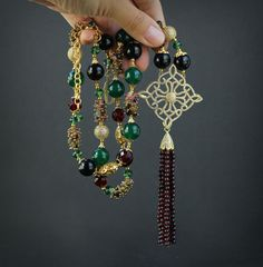 Black Agate, Green Agate, Ruby, Garnet, Tourmaline, Red and Green Crystal Beads Gemstone Necklace