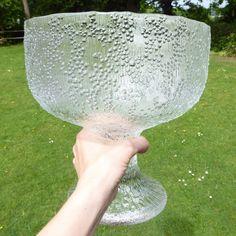 XL Tapio Wirkkala Iittala Puro footed bowl/goblet/chalice Finland ice effect '77