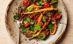 Roast carrots with gingery tomatoes, quinoa and mint.