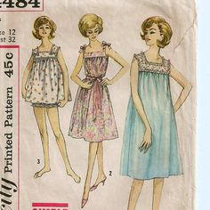 1960s Nightgowns & Panties Pattern  Size 12 Bust 32 by SoSewSome, $4.00