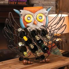 Evergreen Enterprises Owl Wine Bottle Holder Display and store your wine with a bit of playful charm. This metal wine rack is shaped like a perched Owl Kitchen Decor, Owl Home Decor, Kitchen Ideas, Owl Always Love You, Owl Crafts, Wine Bottle Holders, Bottle Rack, Wise Owl, In Vino Veritas