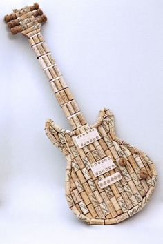 this one was inspired by a Paul Reed Smith. I love creating using wine corks and hope to create a whole series of guitars and other projects Wine Cork Art, Wine Cork Crafts, Beer Cap Art, Wine Cork Projects, Wine Bottle Corks, Gift For Music Lover, Diy Crafts, Wooden Crafts, Decoration