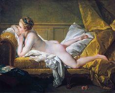 "François Boucher - ""Joven recostada (Madmoiselle Louise O'Murphy)"" (1751, óleo…"