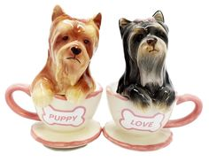 Love those puppies!   Get it here: https://itsayorkielife.com/product/yorkshire-terriers-cute-teacup-yorkie-puppy-love-ceramic-salt-pepper-shakers/