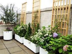 Large wooden deck planters for gardening balcony garden with containers and roof white terrace patio containe Deck Planters, White Planters, Porch Roof Design, Formal Garden Design, Wooden Trellis, Large Greenhouse, Wooden Greenhouses, Sloped Backyard, Pot Jardin