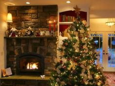 Selections of Stone Fireplace Designs for Home Sweet Home : Christmast Stone Fireplace Color
