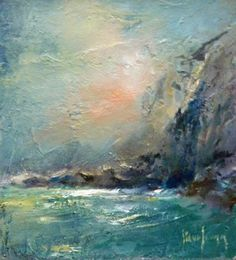 Calm Sea at Seal Cove - oil painting by Steve Slimm. Paintings I Love, Abstract Paintings, Abstract Art, Jewellery Packaging, Best Artist, Beautiful Paintings, Abstract Landscape, Art Techniques, Cornwall
