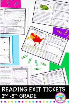 These exit tickets for grade reading includes 34 short quick check multiple choice reading passages for each third grade reading literature and reading informational text standard. There are 2 passage options for every Common Core standard. Reading Strategies, Reading Activities, Reading Skills, Guided Reading, Teaching Reading, Teaching Ideas, Reading Worksheets, Reading Resources, Reading Passages