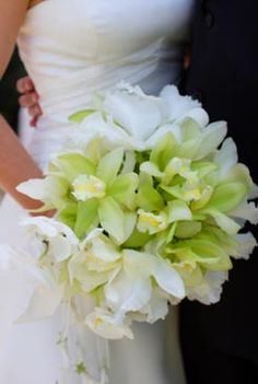 White and green cymbidium orchid hand-tied bridal bouquet