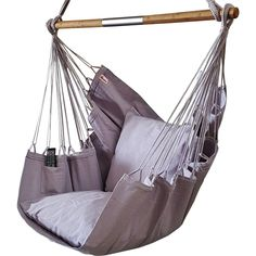 Grey hanging chair with pillows. Buy your high quality chair online in the hammock shop Adirondack Chair Cushions, Cheap Adirondack Chairs, Upholstered Swivel Chairs, Outdoor Chairs, Outdoor Decor, Brown Leather Recliner Chair, Grey Chair, Hammock Chair, Hanging Chair