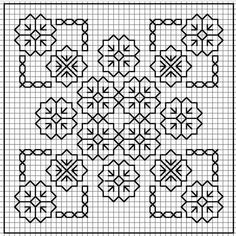 Blackwork Floral for biscornu Motifs Blackwork, Blackwork Cross Stitch, Biscornu Cross Stitch, Blackwork Embroidery, Cross Stitch Charts, Cross Stitch Designs, Cross Stitching, Cross Stitch Embroidery, Embroidery Patterns