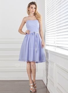 Bridesmaid Dresses - $89.99 - A-Line/Princess Sweetheart Knee-Length Chiffon Charmeuse Bridesmaid Dress With Ruffle Sash (007004304) http://jjshouse.com/A-Line-Princess-Sweetheart-Knee-Length-Chiffon-Charmeuse-Bridesmaid-Dress-With-Ruffle-Sash-007004304-g4304