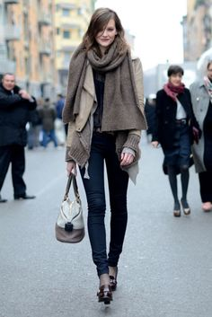beige scarf and jacket