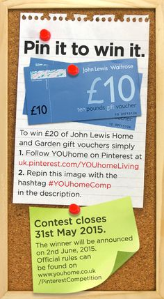 Pin it to win it!  #Win £20 of John Lewis #vouchers. To #enter: 1. Follow us - YOUhomeLiving  2. #Repin this image using the hashtag #YOUhomeComp in the description. Good luck!