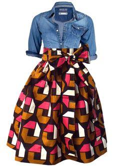 Chioma African Print High Waist Full Skirt (Brown/Pink)