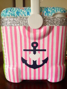 theres the anchor cross and heart I want Diy Cooler, Coolest Cooler, Beach Cooler, Sorority Canvas, Sorority Paddles, Sorority Crafts, Sorority Recruitment, Summer Fun, Summer Time