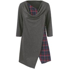 Cowl Neck Plaid Trim Long Tee (1,025 INR) ❤ liked on Polyvore featuring tops, t-shirts, cowlneck top, cowl neck tops, long tee, long length t shirts and long t shirt