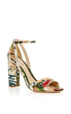 Botanical Satin Ava High Heel Sandal by Monique Lhuillier for Preorder on Moda Operandi